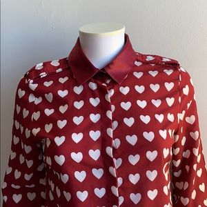Red Blouse with Hearts Medium
